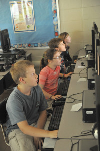 Thrasher Students working on computers