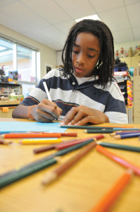 photo of student drawing